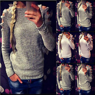 UK Women Cut Out Long Sleeve Jumper Pullover Tops Ladies Casual Knitwear Sweater