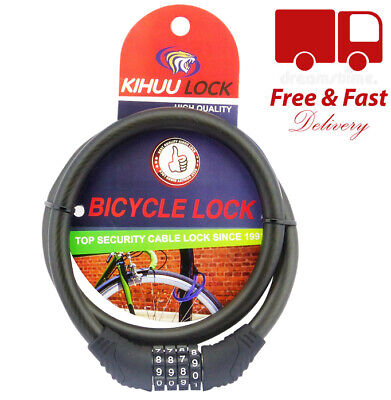 4 Digit Heavy Duty Combination Bike Bicycle Security Cable Spiral Steel Pad Lock