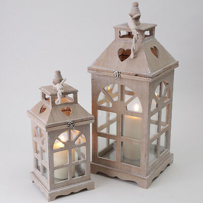 Wooden Hanging Candle Heart Lantern Pillar Candle Home Kitchen Wood/glass