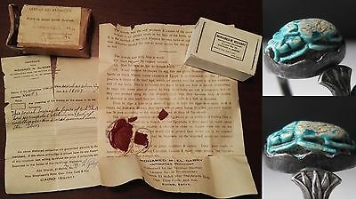 JFF -Nice Ancient Egyptian Scarab with Provenance and Papers from 1934