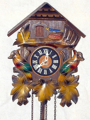 West German Vintage Colourfull Weight Driven Cuckoo Clock With 2 Cuckoos Gwo