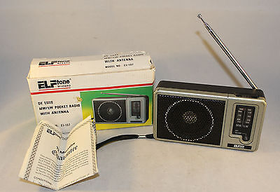 Vintage 2 Band MW LW ELFtone Wizard EL-107 Pocket Transistor Radio Boxed