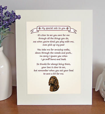"""Field Spaniel 10""""x8"""" Free Standing Thank You Poem Fun Novelty Gift FROM THE DOG"""