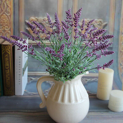 Artificial Fake Plants Lavender Stem Wedding Garden Home Floral Decor Flowers