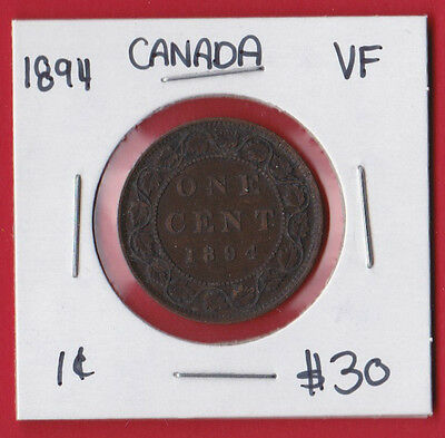 1894 Canada One Cent Penny Coin 9308 - $30 VF
