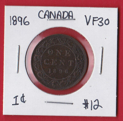 1896 Canada One Cent Penny Coin 9307 - VF/EF