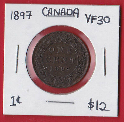 1897 Canada One Cent Penny Coin 9306 - VF/EF