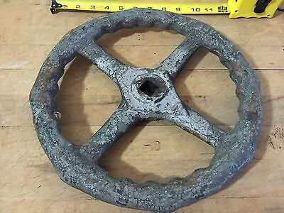 Old Antique Industrial Steam Pipe Cast Iron Valve Wheel 12""