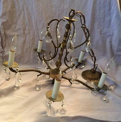 Vintage Ornate Brass 5 Arm Light Fixture Hanging Lamp W/prisms Underwriter's