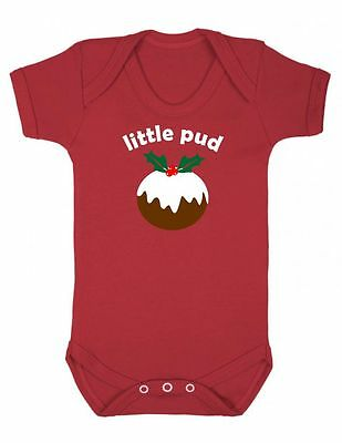 LITTLE PUD Christmas Baby grow vest Boy Girl Clothes Gift Present Personalised