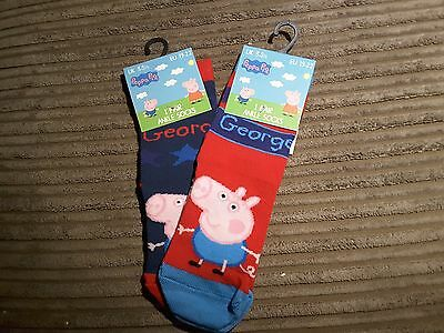 2 pairs of girls/boys peppa and george socks