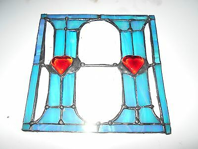 "STAINED GLASS WINDOW PANEL SUNCATCHER LETTER ""H""with or without hangers"