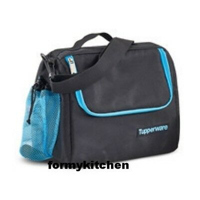 Tupperware Insulates Lunch Bag w/Shoulder Strap Black - Blue   New