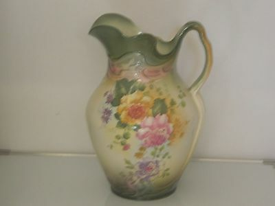 Antique Dutch V/ Old Very Large Water Jug Ceramic Green Floral Embossed Patent