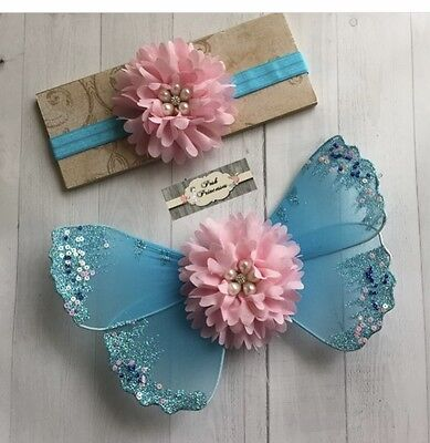 Newborn Baby Girl Aqua & Pink Glitter Angel Wings And Headband Set