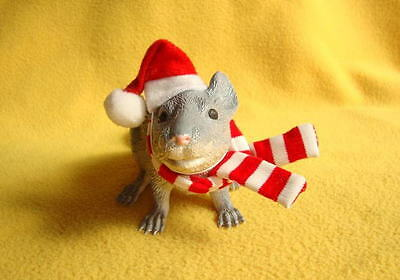 Santa Hat with Red & White Striped Scarf for Rat from PetRATS