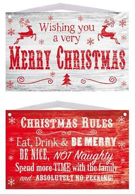 Christmas Xmas Wooden Plaque Red & White Decoration