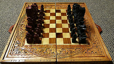 """Vintage Asian Wooden Hand Carve """"handcrafted Chess Set"""" With Blackgammon Board"""
