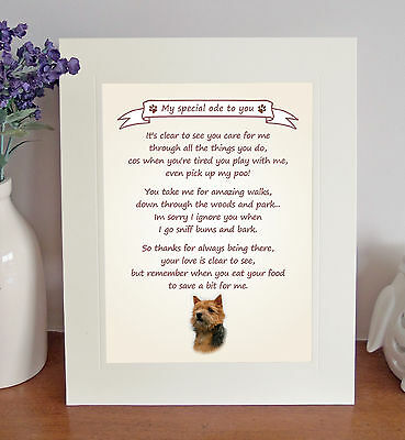 "Norwich Terrier 10"" x 8"" Free Standing Thank You Poem Novelty Gift FROM THE DOG"