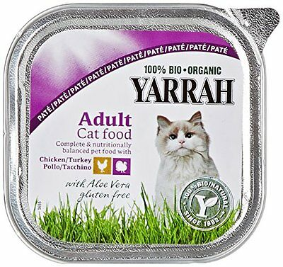 Yarrah Cat Food Organic Chicken and Turkey Pate with Aloe Vera 100 g  Pack of 16
