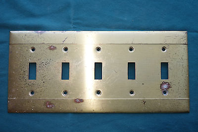 Multiple 5 Switch Brass Plated? Light Switch Cover Plate Architectural Hardware