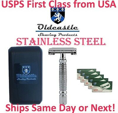 Stainless Double Edge Butterfly Safety Razor + Travel Case + Mirror + 5 BLADES