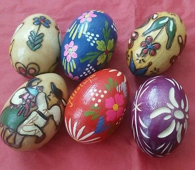 6 Vintage Wooden Eggs Russian Hand Painted And Carved Dancers Rabbit Ducks