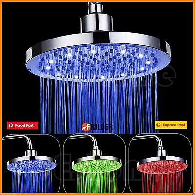 "8"" inch Bathroom Rainfall Round RGB LED Light Stainless Steel Rain Shower Head"