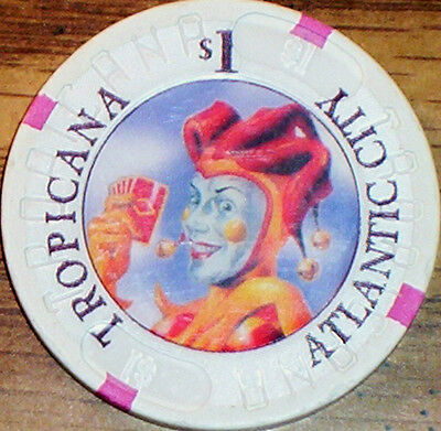 Old $1 TROPICANA Casino Poker Chip Vintage House Mold Atlantic Cty NJ