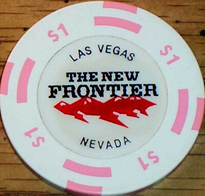 Old $1 THE NEW FRONTIER Casino Poker Chip Vintage Antique BJ Mold Las Vegas NV