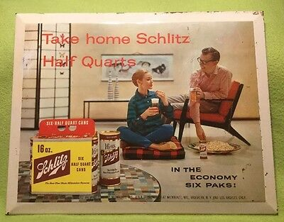 Vintage ~ Schlitz  ~ Beer Sign ~ Metal ~ Cardboard Stand ~ Counter Top