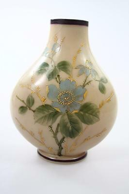 VICTORIAN MILK GLASS VASE WITH HAND PAINTED FLOWERS signed