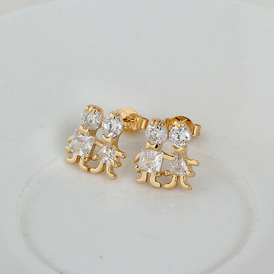 Child Kids 14K Yellow Gold Plated Crystal Childrens Stud Earrings