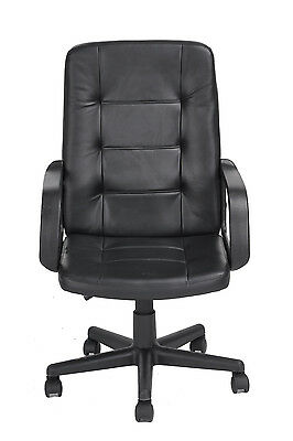 Black Office Chair PU Leather Ergonomic High Back Executive Computer Desk Chair