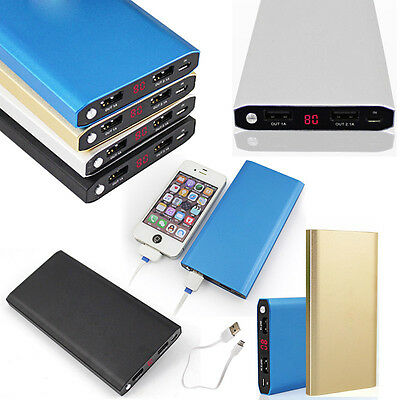 100000mAh External Power Bank Battery Charger 2USB LED LCD For iPhone For Huawei