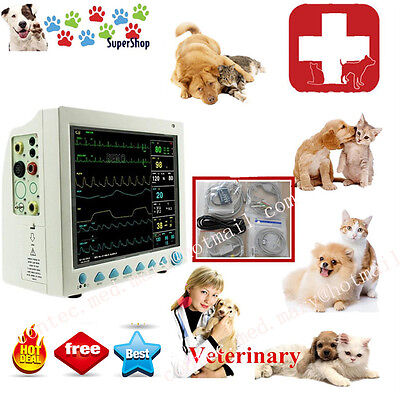 VET Patient Monitor Veterinary Vet 6 Parameter ECG NIBP PR Spo2 TempResp,CE
