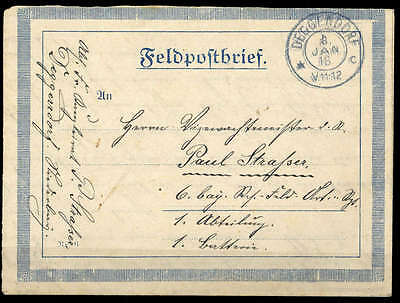"Feldpost I. Wk, 1918, ""DEGGENDORF 8.JAN.18"", K2  Brief (1686009376)"