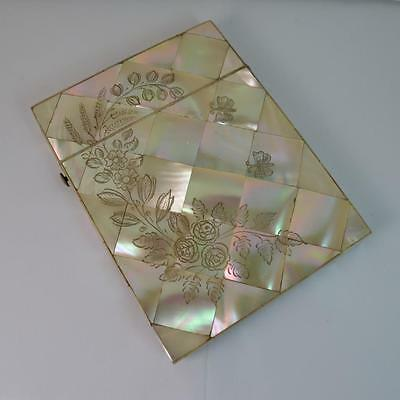 Victorian Mother of Pearl Ladies Calling Card Case with Engraving C1880