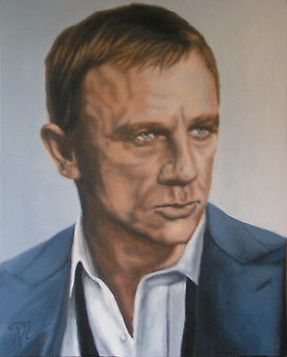 DANIEL CRAIG 007 Painting, AUTOGRAPHED by Him - VIDEO PROOF