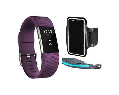 Fitbit Charge 2 HR Fitness Wristband Large Plum Silver + Sport Belt + Armband