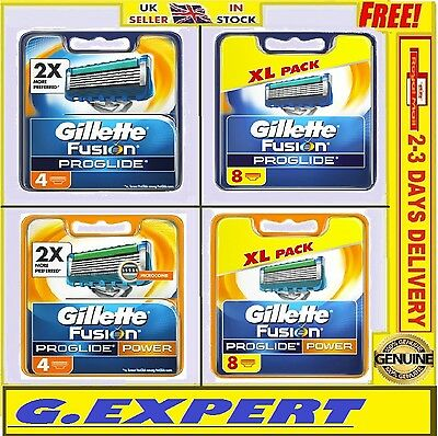 Gillette Fusion Proglide / Proglide Power Razor Blades - 4 / 8 / 10 -  Uk Stock
