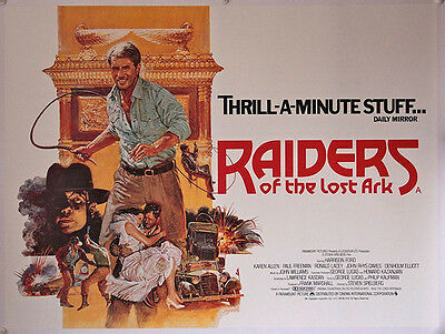 RAIDERS OF THE LOST ARK linen backed British Quad poster (1981) Harrison Ford,