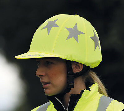 NEW Shires Hi-Viz Equi-Flector Fluorescent Hat Cover / Silk & Reflective Stars