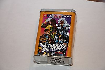 1996 Marvel X-Men Metal Set of 4 Collectible Trading Cards In Band Aid Tin
