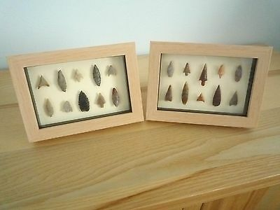 Neolithic Arrowheads in 3D Picture Frames x 2, Authentic Artifacts 4000BC (0160)