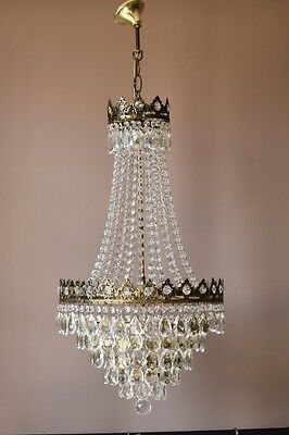Antique French Vintage Crystal Chandelier Lamp Art Nouveau Lighting Dining Room