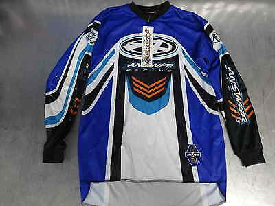 Brand New Junior Answer Mx Motocross Jersey, Blue, White & Black, Large