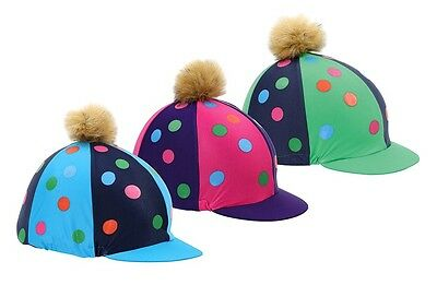 NEW Shires Fluffy Pom Pom Riding Hat Cover / Silk With Spots - Pink Green Blue