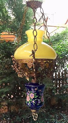 1950s Vintage Antique Ceiling Pendant Light w Yellow Glass & Gold Bronze Hanging