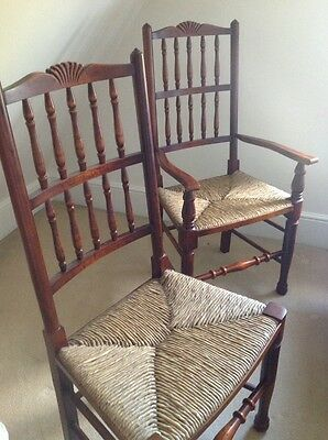 Set of 8 French Rustic Spindleback Dining Chairs in Oak